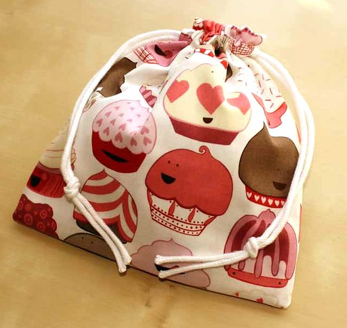Happy Cupcake Drawstring Bag - handmade