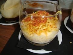 Huevo trufado con patatas y jamón