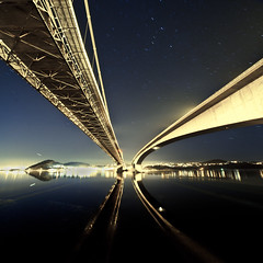 My Golden Gate (PetterPhoto) Tags: bridge reflection night golden nikon gate bridges twin goldengate nikkor kristiansand 1024 top20longexposure varoddbrua d300s petterphoto nikonflickrawardplatinum