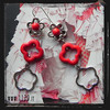 MBTURO orecchini fiore turchese rosso red turquoise flower silver earrings 1129