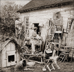 Making Chairs (ookami_dou) Tags: vintage chairs stereoview occupational carpenter