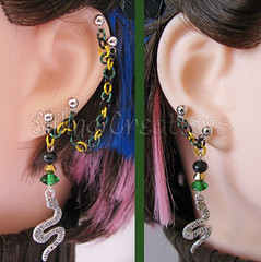 Green, Gold and Black Snake Cartilage Chain Earrings