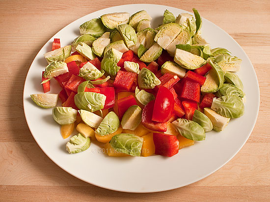 Cut up Red and Yellow Bell Peppers and Brussels Sprouts