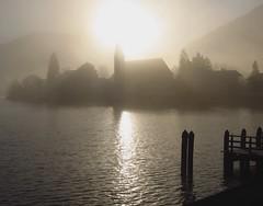Tegernsee Steeple Morning Fog 2 (davidmartinD200) Tags: fog reflections germany munich s95 tagernsee djmoriginal