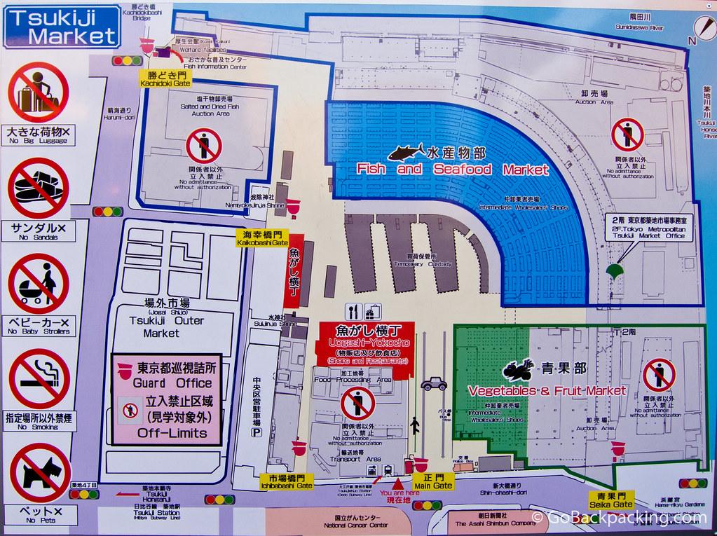 Map of Tsukiji Fish Market in Tokyo