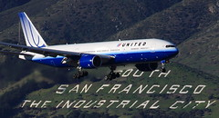 United Airlines (unknown regsitration) (A Sutanto) Tags: sanfrancisco blue usa sign airport sfo united hill boeing airlines ua southsanfrancisco ksfo b777 staralliance b772