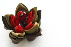 Kanzashi - Autumnal Narcissus (cuttlefishlove) Tags: flower japan japanese petals brooch silk craft ornament folding hairclip kanzashi fascinator hairornament habotai habotae