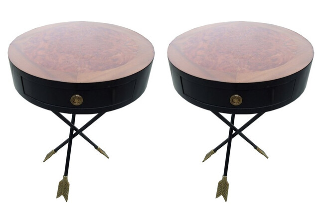 drum tables with arrow and feather legs $2250