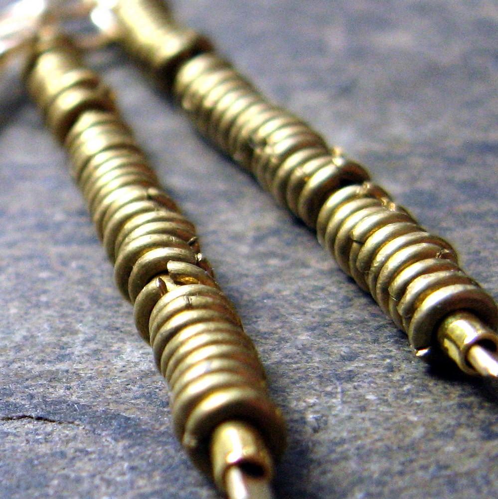 dangerous knowledge-- brass beaded earrings