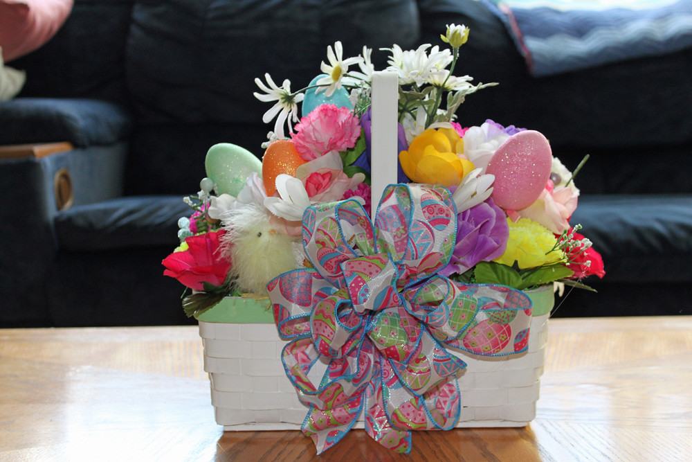 Easter Basket, colorful assorted flowers, eggs, chicks Centerpiece