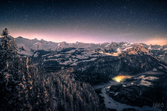 * Rotenfluh - Mountain chain * (dmkdmkdmk) Tags: winter snow mountains alps fog night clouds dark stars landscape switzerland hdr schwyz rotenfluh rotenfluhbergpanoramanacht