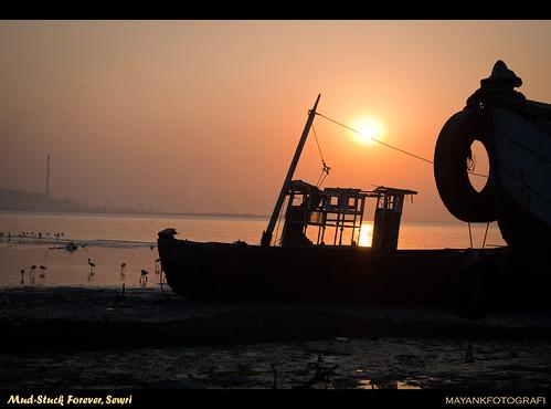 Twin boats mud stuck forever at Sewri, Mumbai