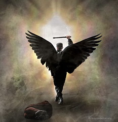 Dark Force Angel (h.koppdelaney) Tags: light black angel sun dark force power mars god warlord destruction hate violence pain suffering victim wings aggression cross war a4 symbol life archetype psyche psychology philosophy metaphor art digital photoshop symbolism picture koppdelaney gewalt schlger opfer schlag licht macht schwarz
