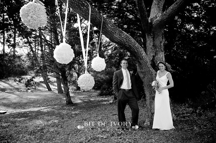 yellow and gray bride and groom rossette balls