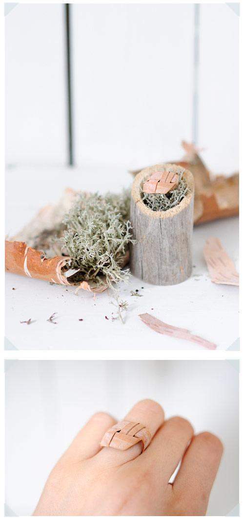 Ring made of birch bark
