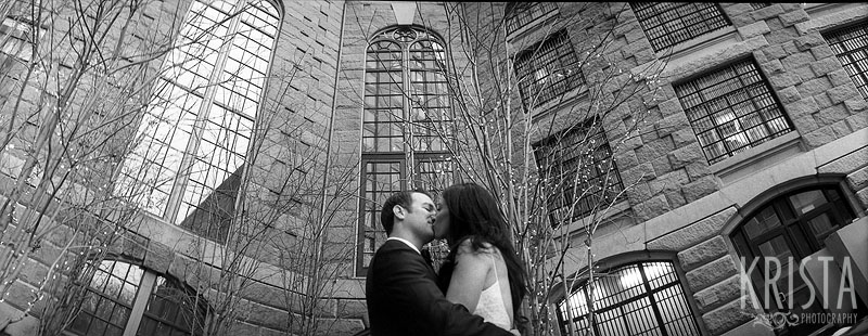 Boston Winter Wedding in black & white film - panoramic at the Liberty Hotel