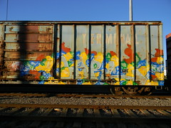 Carl (Sk8hamburger) Tags: train painting graffiti shark paint tag dna boxcar piece hotcarl nr tagging kts freight ther grainer kmv peninsulaterminal dnak