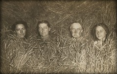 the enigmatic wheat family (unexpectedtales) Tags: enigmatic vintage snapshot wonderful postcard vernaculat old photo photograph snap shot antique surreal weird strange unusual black white vernacular found unexpectedtales peculiar