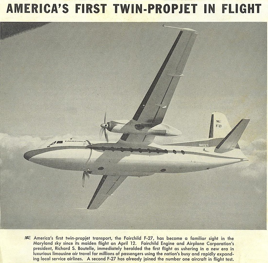 Fairchild F-27 maiden flight
