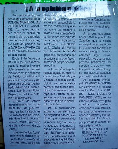 Mensaje de los policías de Ciudad Guzmán 2011 03 04 -01-