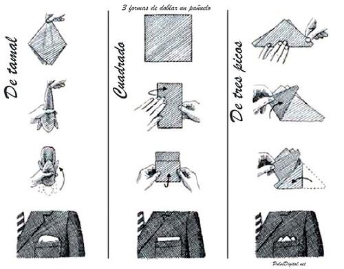 3 maneras sencillas de doblar el pañuelo para el bolsillo del saco