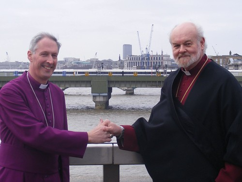 Bishops of London & Southwark greet each other at centre of London Bridge