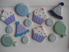 Birthday cookies (Songbird Sweets) Tags: birthday cookies balloons cupcakes purple sugar partyhats