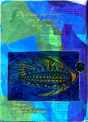 Tortuga (Imajica Amadoro) Tags: abstract collage miniature tissue small mini tiny alteredbook tortuga goldleaf papercollage artistsbooks abstractcollage alteredpage tornpapercollage cutpapercollage paperglass mommsen arttissue catherinelmommsen abjhroundrobin