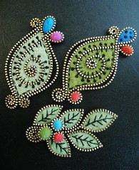 A few leaf inspired brooches (woolly  fabulous) Tags: flowers felt pins zipper embroidered brooches