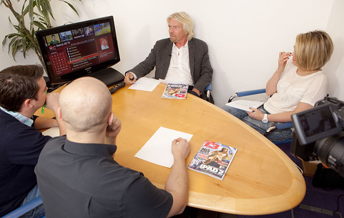 Richard Branson demos TiVo at Virgin Media, Great Portland St, London 9/3/11