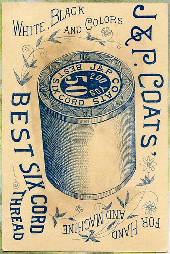 J&P Coats Thread Trade Card, Back by danagraves