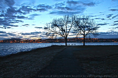 Evening walk by the frozen river (pagolbhai) Tags: ny newyork evening hudsonriver beacon frozenriver beaconharbor