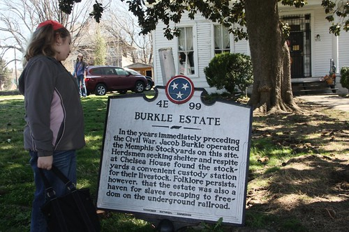 Sprite reading Burkle Estate marker