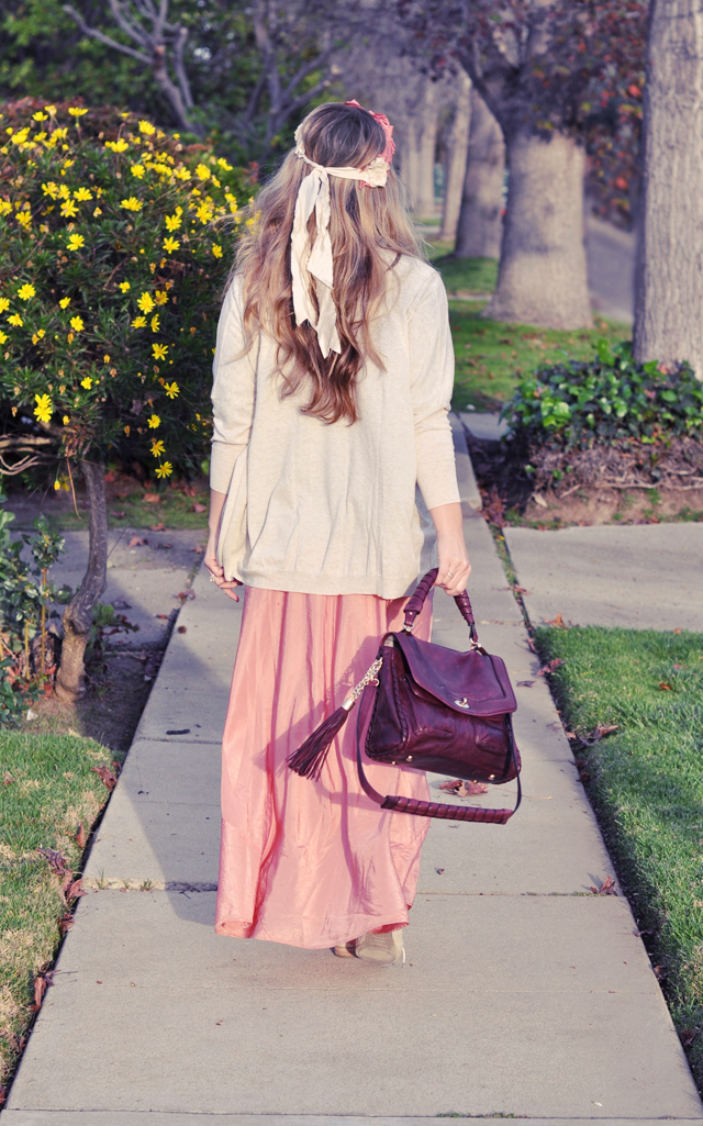 pink maxi, burgundy handbag with tassels, oxfords, DSC_0144