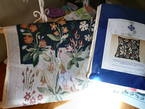 Needlepoint cushion on frame