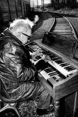 Railroad Tracks and an Organ - Norman 2035 (JLPhotoArt - Jeremy Lindstrom) Tags: ca musician music canada vintage keyboard bc surrealism traintracks surreal oldman retro newwestminster unplugged railroadtracks lowreyorgan