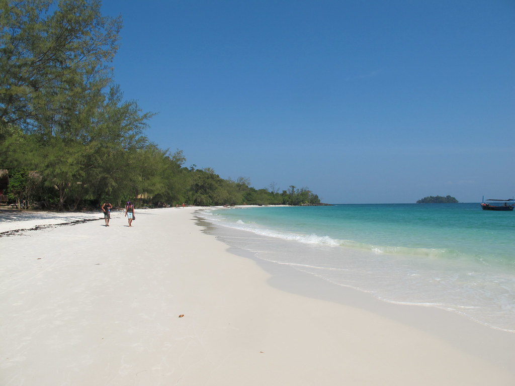 Walking on a deserted beach on Koh Rong, Cambodia