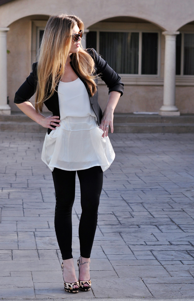 ombre hair, leopard shoes, black and white outfit, fashion, DSC_0163