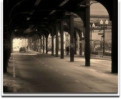 City Street - Chicago (flowerwine) Tags: street city bridge urban chicago shop sepia architecture train underground perspective tracks arches el structure lane l beams antiqued 18200mm baxterroad canon7d
