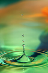 Water droplets (AgniMax) Tags: wallpaper sculpture orange macro green water canon eos experiments droplets drops colorful background kerala freeze splash 70200 bg testshot highspeedphotography agni 70200f4l timefreeze 400d eos400d agnimax waterdropletoncolorfulbackground