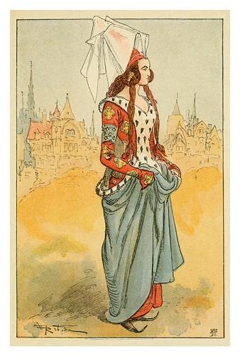 015-Dama noble de final del siglo XIV-Mesdames nos aieules dix siecles d'elegances 1800- Albert Robida