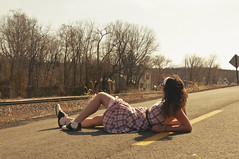 (yyellowbird) Tags: road girl rachel traintracks missouri goldenhour moselle saddleshoes summery butitsnotsummer straightupchillen