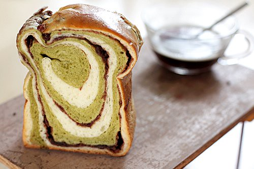 green tea swirl bread