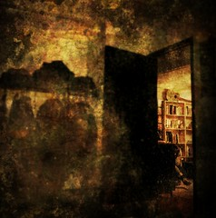 365.79 Through the door (this.nik) Tags: door texture sepia contrast dark lomo haunted doorway aged bookshelves vignette noisy evocative iphoneography picfx irisphotosuite