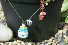 HAPPY BIRTHDAY Necklace - Cake Slice Long Chain