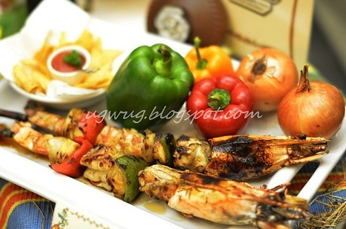 Grilled jumbo tiger prawn brochettes