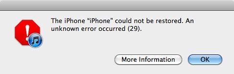 Ошибка 29 iPhone 3GS