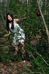 Good vs. Evil (Paulina Pikulinski) Tags: life eve red portrait white black sexy adam apple nature girl beautiful fashion hair photography death model woods nikon dress birth evil innocence lipstick mm 50 temptation