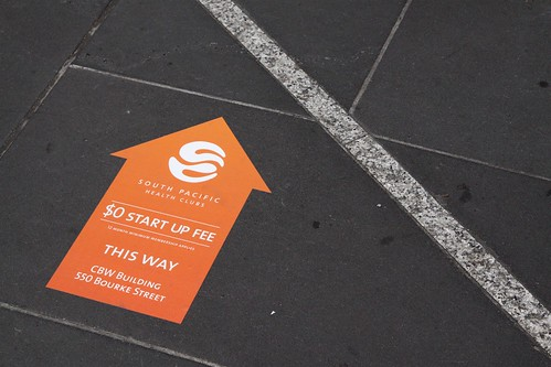 More unauthorised South Pacific Health Clubs advertising, this time on the footpath