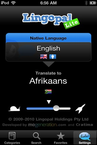 Screenshot: Lingopal Afrikaans